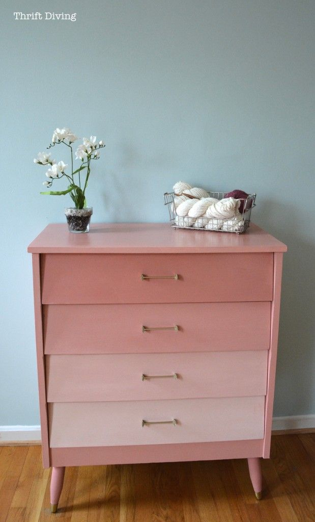 Thrifted mod dresser - ombre - using Annie Sloan Scandinavian Pink mixed with Old White. @Debbie McCubbin Diving