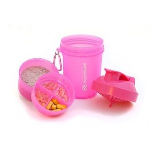 Pink SmartShake Protein Shaker! I love this! Yes please. I need this in my life. Supplement holder and everything!