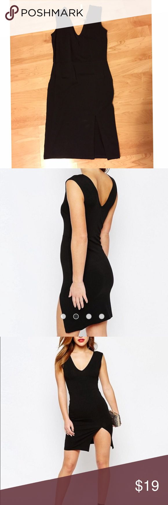 (NWT) ASOS Petite Bodycon Dress with Thigh Split New with tag, never worn. Material: stretch jersey. Size: UK 8 or US 4. True to size. Out of stock online ASOS Dresses Mini