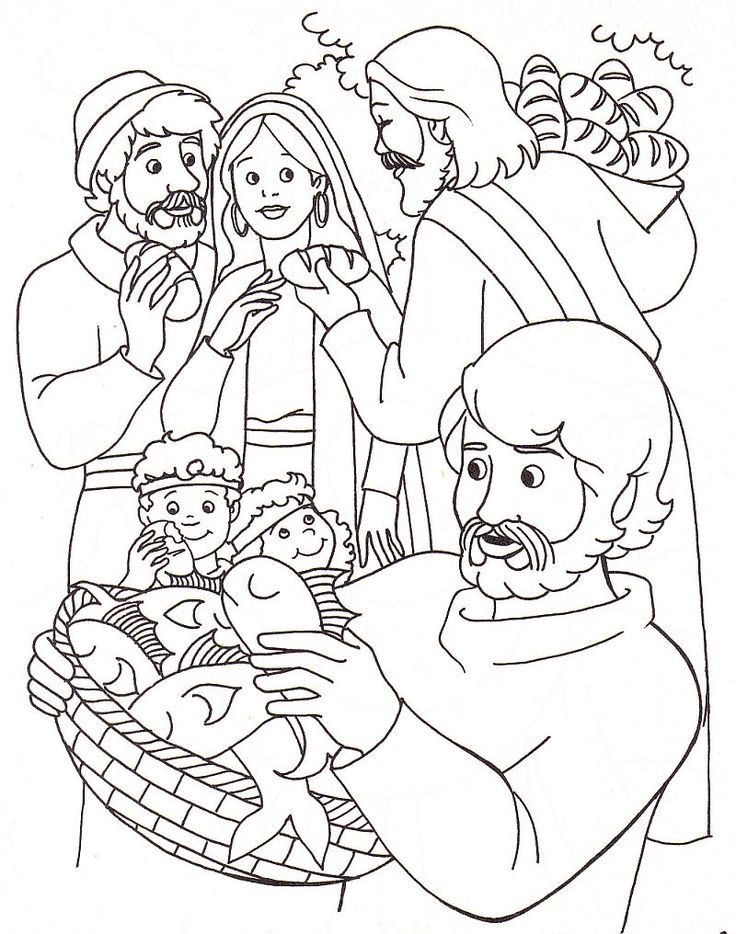 Jesus Feed 5000 Coloring Page