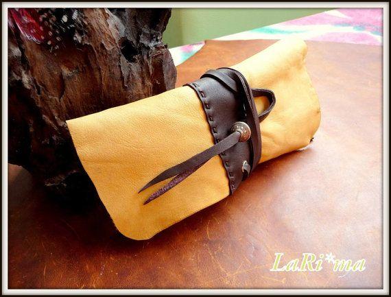 Leather all Handmade  Tobacco Ciger case / Yellow ocher by LaRima, $49.50