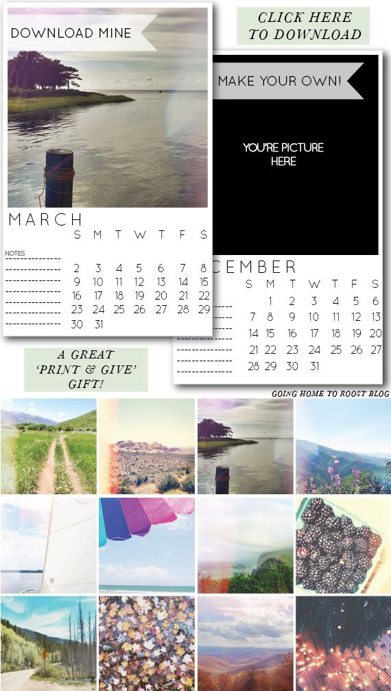 2014 ready to print -or- customize yourself instagram calendars!