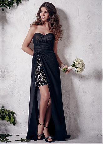 comprar Elegante gasa escote corazón completo de longitud una línea de vestido de dama de descuento en Dressilyme.com