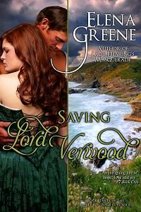 SAVING LORD VERWOOD ~ Penelope Talcott distrusts Lord Verwood, a notorious rake who's meddled in the lives of her friends.  But she accidentally saves his life and becomes entangled in his affairs.  Someone is trying to kill Verwood. Despite herself, Pen is impelled to help.  Scandal forces them to marry and return to his estate in Cornwall, where Pen must solve the mystery of the tortured man she has come to love.