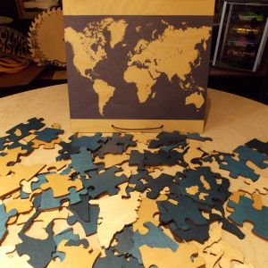 World Map Custom Puzzle signing puzzle with memory box wedding guest book