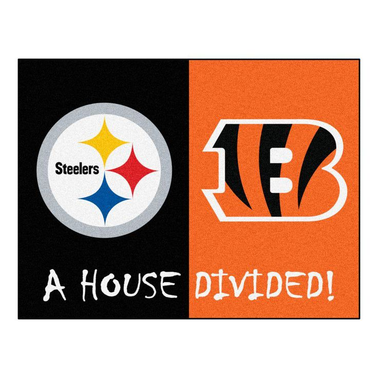 NFL Steelers / Bengals Black House Divided 2 ft. 10 in. x 3 ft. 9 in. Accent Rug, Black/Orange