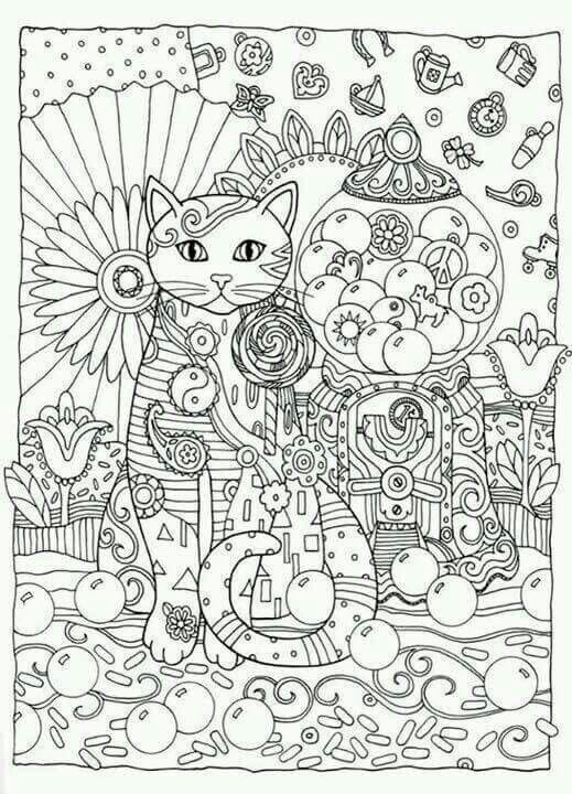 Adult Coloring Pages Books Colouring Zen Cats Mandalas In To Color