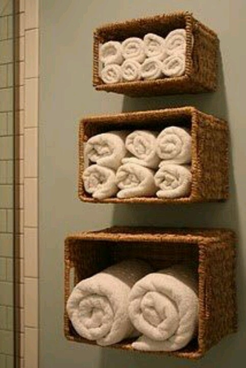 Baskets-Great way to add character and storage to a unique bathroom.