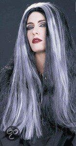 Halloween Heksenpruik met lang grijs/zwart haar 16,9 euro
