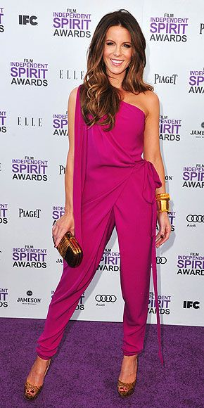 I am so jealous of Kate Beckinsale's one-shoulder Diane von Furstenberg jumpsuit!