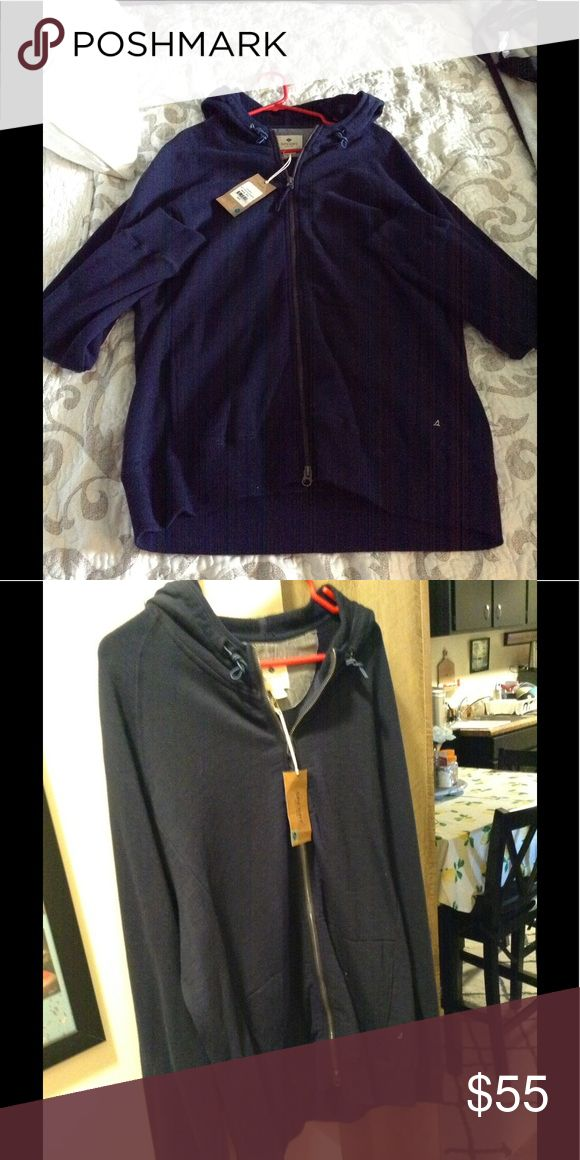 Men's Sperry Jacket with hood, NWT Brand new men's Sperry Dark Blue jacket. Tags attached never worn. Great classic style. Sperry Jackets & Coats