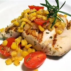 Rosemary Marlin with Roasted Corn and Tomato Relish Allrecipes.com