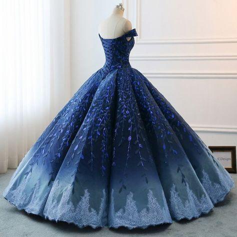 Vestidos de fiesta modestos de alta calidad 2019 Vestido de noche de boda azul real de Ombre Gra …