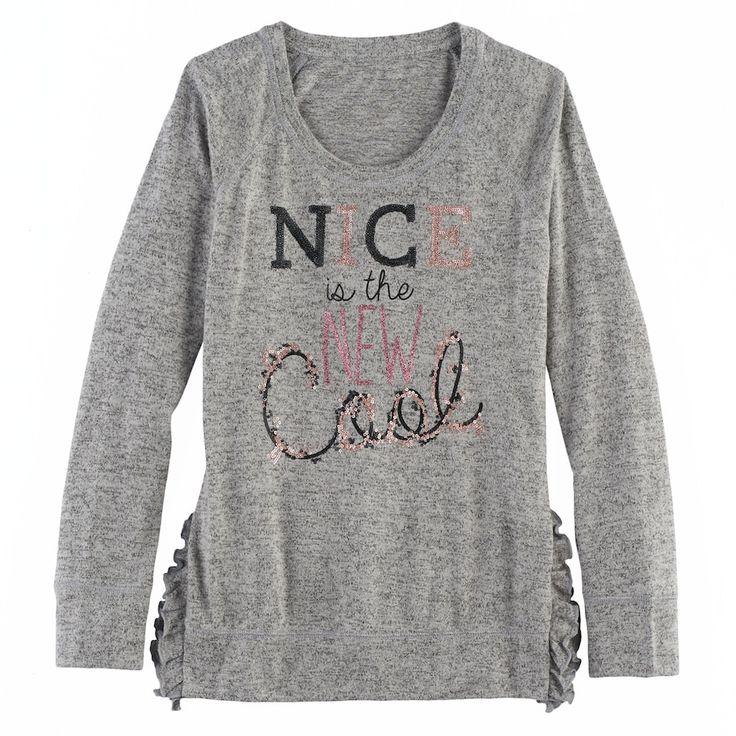 Girls 7-16 & Plus Size SO® Ruffle Sweater, Size: 16 1/2, Med Grey