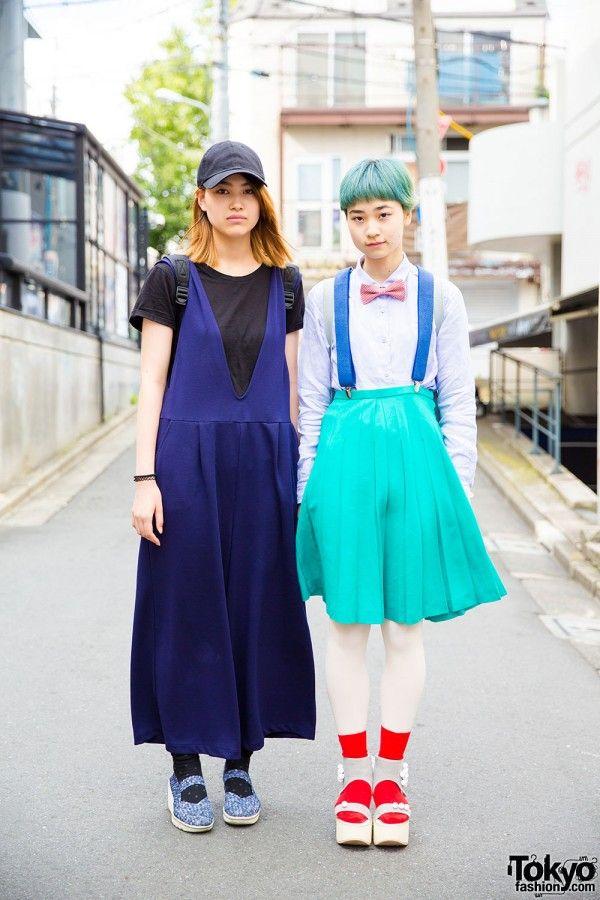 Harajuku girls in resale fashion, GU jumper dress and t-shirt