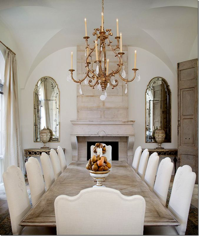 Design Elements To Note Mirrors On Either Side Of Stone Fireplace With Credenzas Below Inspiration Idea For Dining Room