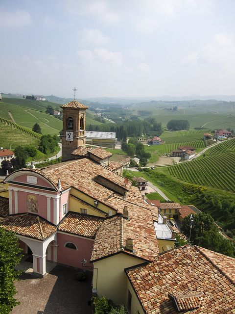 Church - View from wine museum (WiMu - Museo del Vino a Barolo) in Barolo over the local church and the vineyards beyond. Piedmont, Italy