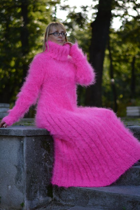 Mohair sweater DRESS in Neon Pink  hand knitted T-neck by Dukyana