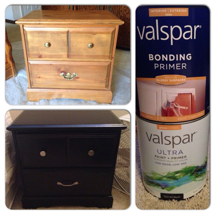 "Paint any wood furniture without sanding. DIY newbie and had no issues! Buy valspar bonding primer for glossy surfaces and a good quality latex paint with a gloss finish (more gloss = scratch resistance). Use foam rollers and foam ""brushes"" for hard to reach areas. Let primer dry 2hrs before painting. I used 2 coats of paint (wait 2hrs minimum between coats). Follow the instructions on the paint cans for temperatures and other care just to be safe. If changing handles, make sure the new ones…"