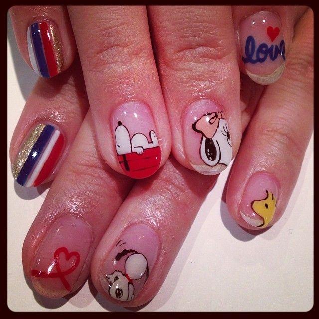 Snoopy nail art decals : Peanuts snoopy nails shiny art pretty nail