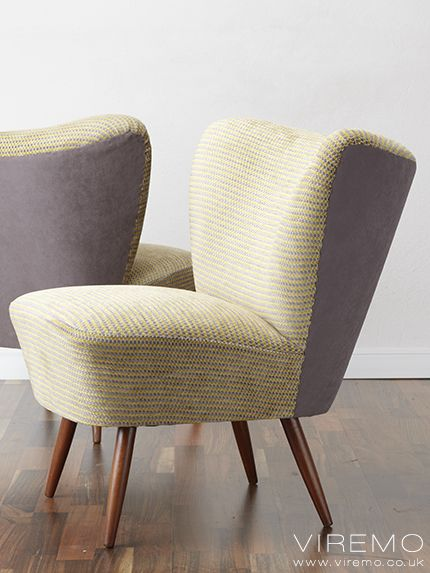 Midcentury cocktail chairs upholstered in Osborne & Little Rondelle fabric