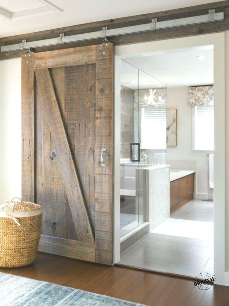 Sliding Door Barn In Raw Wood And Luxury Modern Bathroom Farmhouse Bathroom Decor Modern Farmhouse Bathroom Bathroom Remodel Master