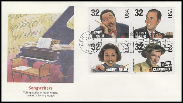 Block Includes: 3100 Harold Harlen / 3101 Johnny Mercer / 3102 Dorothy Fields and 3103 Hoagy Carmichael. Have description of the stamp subject printed on the back. IS IN MINT, UNADDRESSED CONDITION.