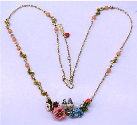 Принцесса Европа и оригинальный сингл изысканные шоу щедрый темперамент эмали цветка падения Глазурь птицы ветви пару ожерелье свитер цепи - глобальная станция Taobao
