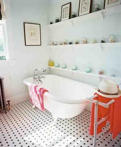 Aqua, coral and taupe: Bathroom Design, Ideas, Floors, Clawfoot Tubs, Bathtubs, Interiors Design, Claws Foot, House, Bathroom Shelves