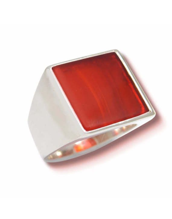 Man ring with carnelian