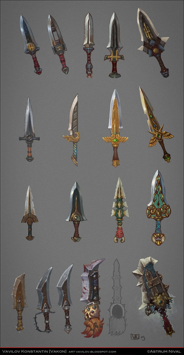 Daggers concepts by Vakon-art   NOT OUR ART - Please click artwork for source   WRITING INSPIRATION for Dungeons and Dragons DND Pathfinder PFRPG Warhammer 40k Star Wars Shadowrun Call of Cthulhu and other d20 roleplaying fantasy science fiction scifi horror location equipment monster character game design   Create your own RPG Books w/ www.rpgbard.com