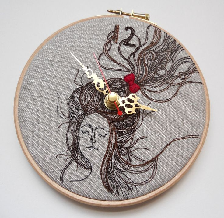 Laura Mason's fantastic embroidered clocksFolk Wall, Embroidered Clocks, Artsy Stuff, Collaborative Piece, Heidi Burton, Embroidered Linens, Wall Clocks, Linens Folk, Embroidery Art
