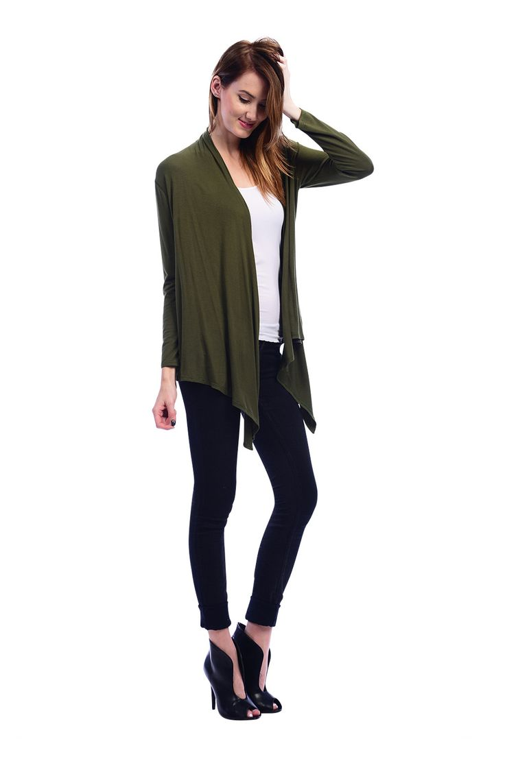 Easy Wear Open Front Drape Cardigan