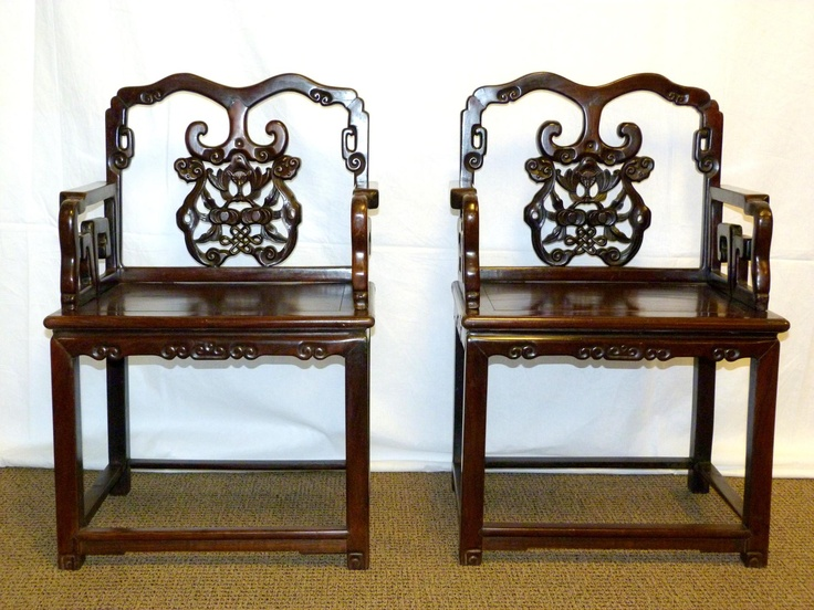 PAIR ANTIQUE CHINESE HAND CARVED LONG LIFE CHAIRS - Has a hand carved bat  of longevity - 41 Best Chinese Antiques 古董 Images On Pinterest Chinese