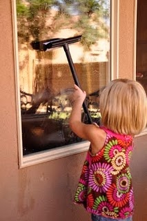 Window cleaning recipe-- 1 gallon hot water, 1/2 cup white vinegar, 1 t dish soap