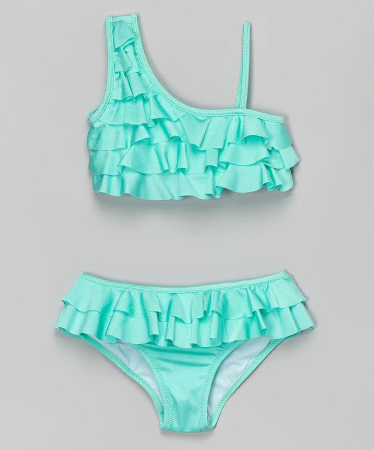 Look at this #zulilyfind! 9's Swimwear Mint Ruffle Asymmetrical Bikini by 9's Swimwear #zulilyfinds
