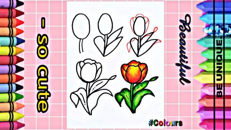 Draw Flower Step By Step تعليم الرسم خمس مراحل جد سهلة لرسم وردة مع Colours Cute Unique