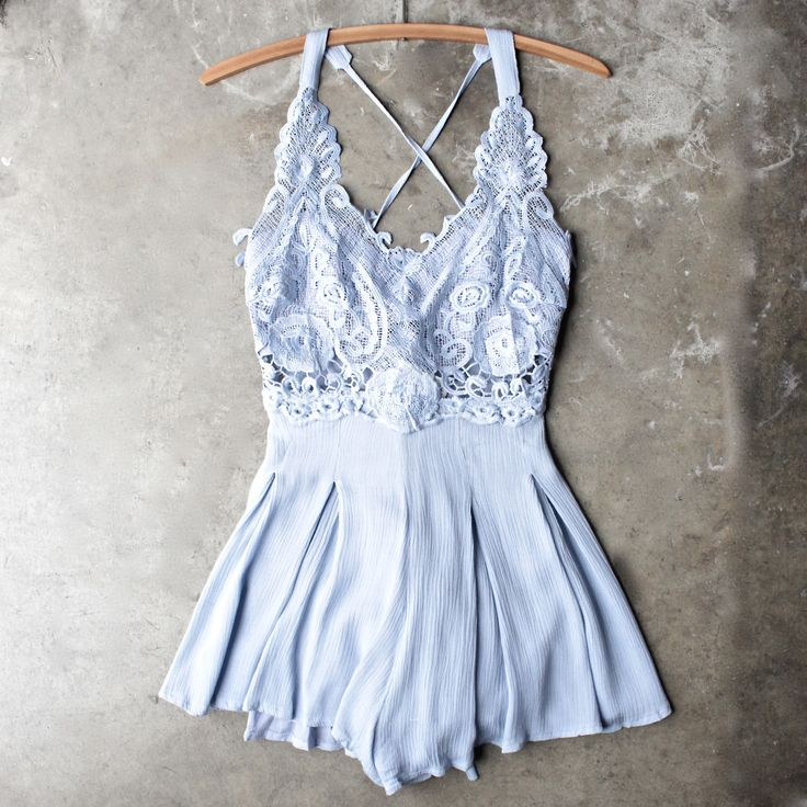 first lace winner microfiber romper - periwinkle - shophearts - 1