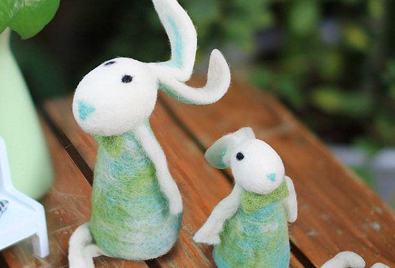 Handmade long legs felt rabbits - rabbit made with felt - handmade felt rabbit matching friends BFF gifts
