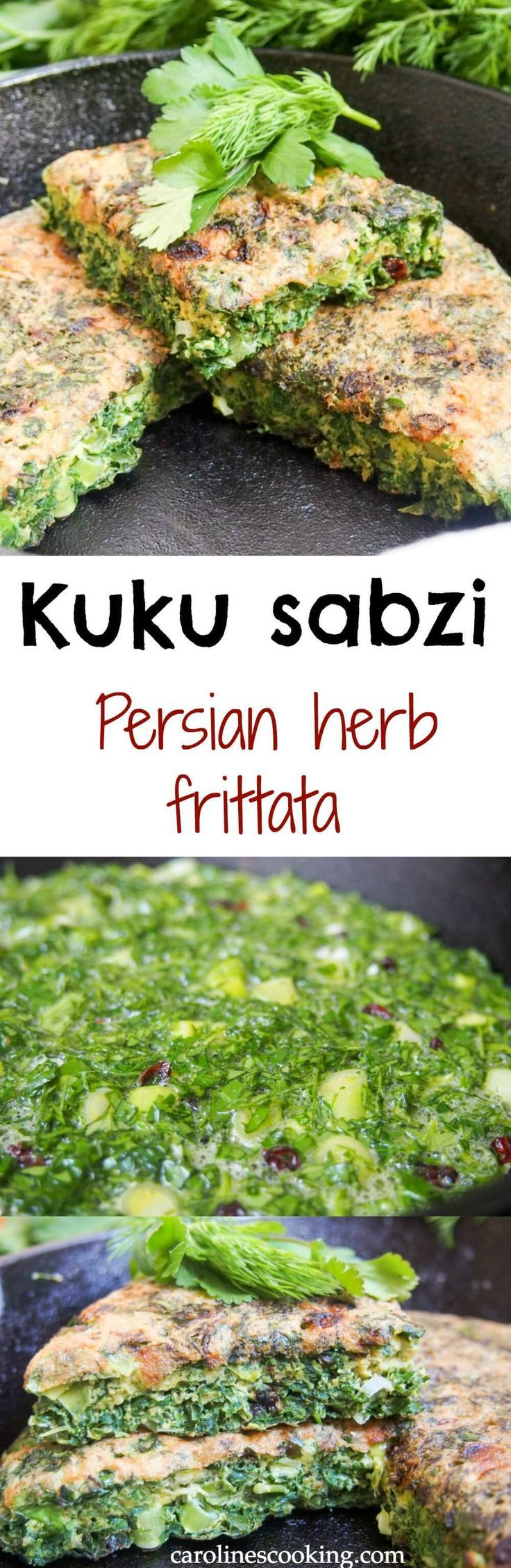 This Persian herb frittata (kuku sabzi) is bright and fresh in both color and flavor. While traditionally for Nowruz, it would also be great for a picnic, appetizer or brunch. #SundaySupper