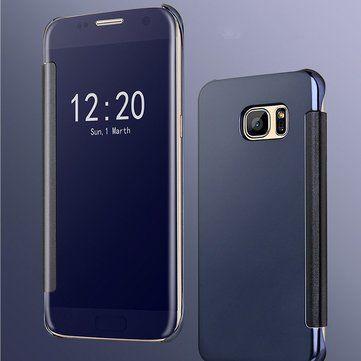 Electroplating Acrylic Mirror PC Smart Sleep Flip Full Body Shockproof Case For Samsung Galaxy S7 Edge Sale - Banggood.com