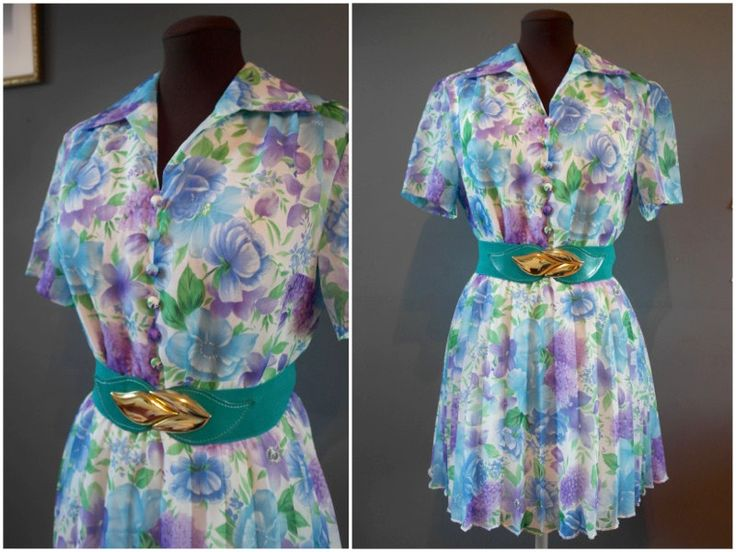 Vintage Floral Granny Chic Turquoise Blue Short Sleeved Tea Dress - Size 16 - pinned by pin4etsy.com