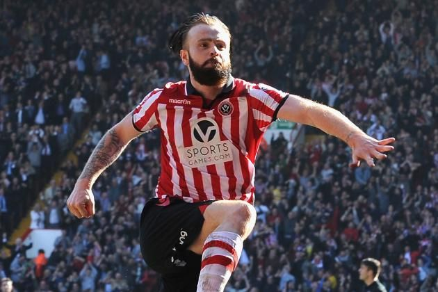 John Brayford celebrates scoring  against Charlton Athletic at a delirious Bramall Lane during Sheffield United's run to the 2013-14 FA Cup semi-finals.