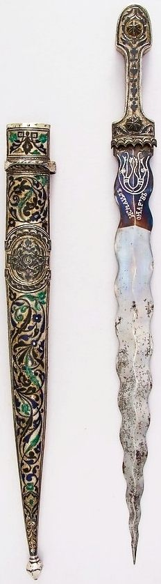 Caucasian kindjal, 19th century,steel, silver, enamel, L. with sheath 21 5/8 in. (54.9 cm); L. without sheath 20 1/2 in. (52.1 cm); L. of blade 15 1/2 in. (39.4 cm); W. 1 9/16 in. (3.4 cm); Wt. 15.4 oz. (436.6 g); Wt. of sheath 12.5 oz. (354.4 g), Met Museum, Bequest of George C. Stone, 1935.
