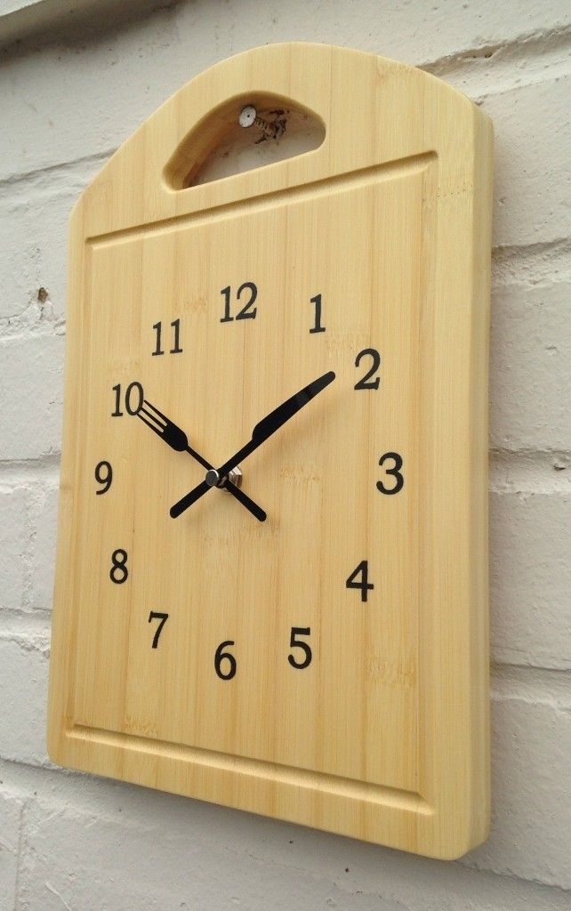wood clock | Wall clock for kitchen - Wooden Chopping Board Clock