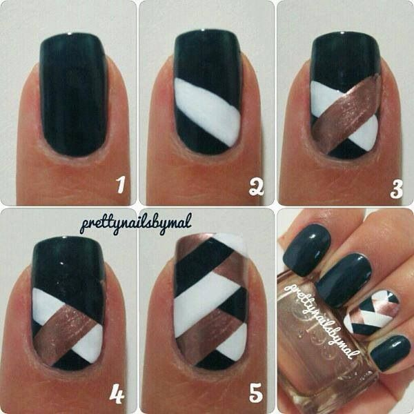 Nail art - criss cross simple - But NOT with these colors.
