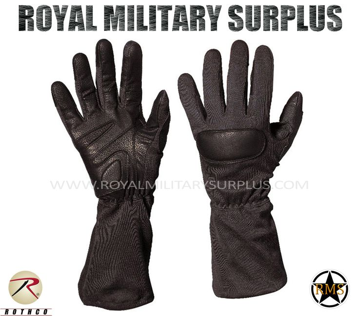 Tactical Gloves - Special Forces - BLACK (Black Tactical) - 94,95$ (CAD) | BLACK (Black Tactical) Tactical Camouflage Pattern Army/Military/Commando/Special Forces Design Made following Military Specifications Leather &  Nylon Construction Flame, Heat & Cut Resistant Flash Protection up to 800 Degrees F Water Resilient Ergonomic Cut and Fit Elastic Wrist BRAND NEW Available Sizes : S - M - L - XL http://www.royalmilitarysurplus.com/Gloves_c23.htm