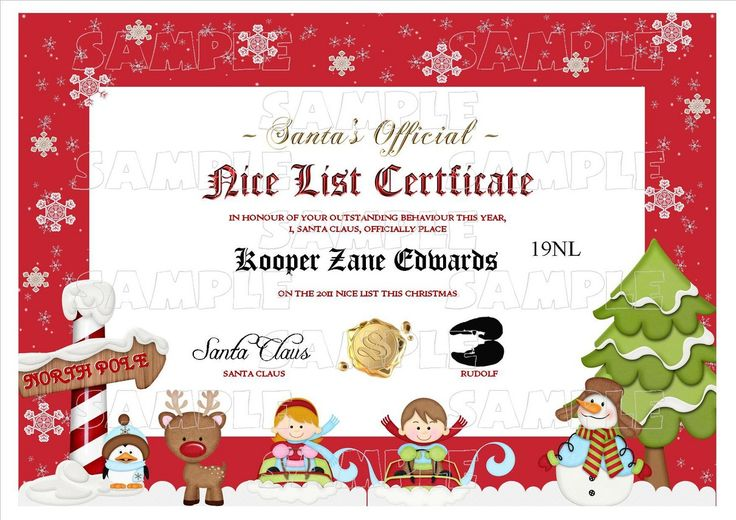 Personalised Santa Letter - Good/Nice List Certificate