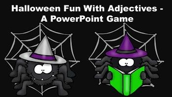 """This Halloween Spider themed game introduces and reviews the concept of basic adjectives. It explains to the students that adjectives are describing words that answer the questions, """"What kind?"""" """"Which one?""""  """"How many?"""""""