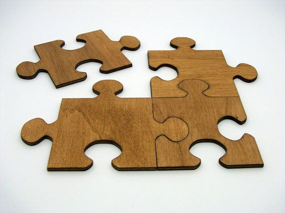 Wooden Jigsaw Puzzle Coasters set by InvenioCrafts on Etsy, €14.00